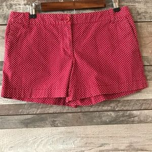 Ann Taylor LOFT red white polka dot shorts 6